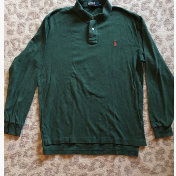 c93b3f4f Polo By Ralph Lauren Green Long Sleeve Polo Shirt